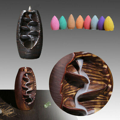 Ceramic Mountain Waterfall Backflow Smoke Cones Incense + 100 pcs Incense Cones