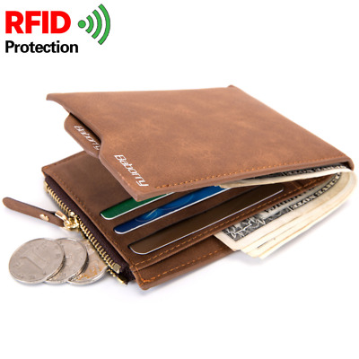 RFID Blocking Theft Protect Men Wallet Money Bag Card Holder Purses Slim Purse