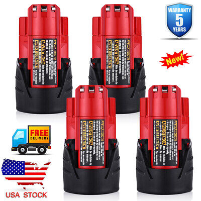 4Pack For Milwaukee 48-11-2401 48-11-2402 M12 12Volt Lithium-ion 2500MAH Battery