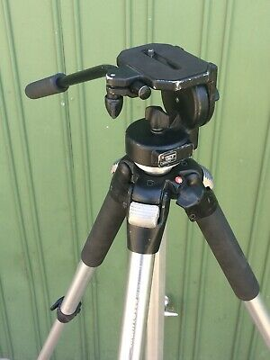 Manfrotto 055CL Tripod With 128LP Friction Video Head. Great Cond. Made in Italy