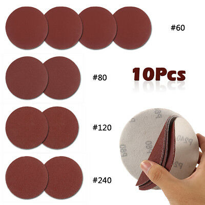 10 PCS 5 Inch Sanding Disc Sandpaper 60 80 120 240 Polishing Pad Grit  CA
