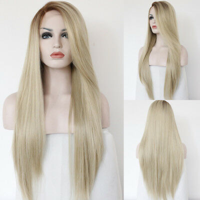 Long Wave Lace Front Wig Real Human Hair Wigs with Fiber Hair Heat Resistant AU
