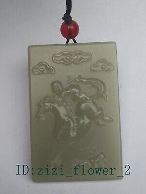 Collection China Xinjiang Jade Hand Carving Horse Monkey Pendant Necklace Gift