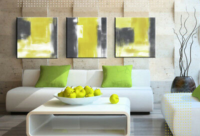 Framed Abstract Painting Yellow Grey White 3 piece Canvas Wall Art Picture Print