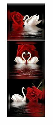 Framed White Swan Red Rose Flower Black 3 Panel Canvas Wall Art Print Picture