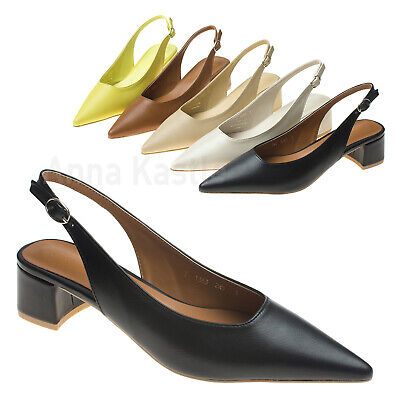 ea9f7fbc392 ANNAKASTLE WOMENS CHIC Pointy Toe Block Heel Slingback Pumps ...