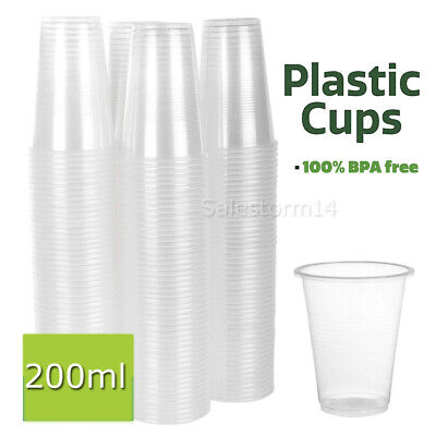 Disposable Plastic Cups Clear Reusable Drinking Water Cup Party 200ml Bulk AU
