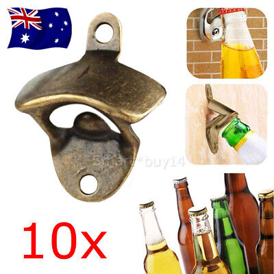 10X OPEN Wall Mounted Bottle Cap Top Opener Man Cave Bar Rustic Style Cast Iron