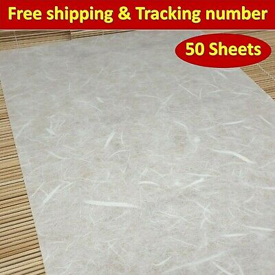 Mulberry Paper Sheet Thin White Translucent Tissue Lightweight Unryu 50 Sheets