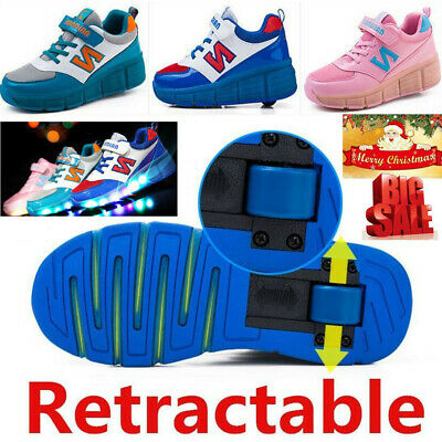 LED Youth Kids Girls Boys Roller Skate Retractable Single Wheel Shoes Sneaker AU