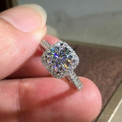 Certified 3.50Ct Round Cut White Moissanite Engagement Ring Solid 14K White Gold