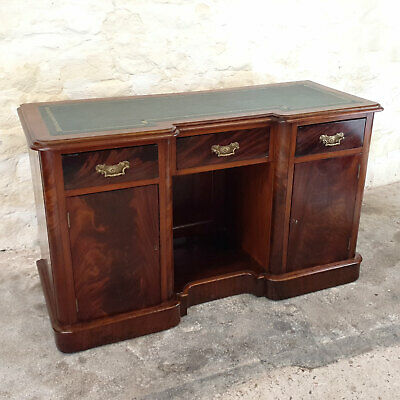 Victorian Mahogany & Leather Kneehole Inverted Breakfront Desk / Sideboard C19th