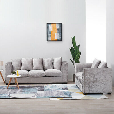 Crushed Velvet Silver Fabric Corner Sofa Set , 3, 2 , 3+2 Seater Settee Couch Uk