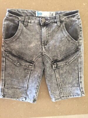 Boys Cotton On Blxk Washed Denim Shorts Size 14