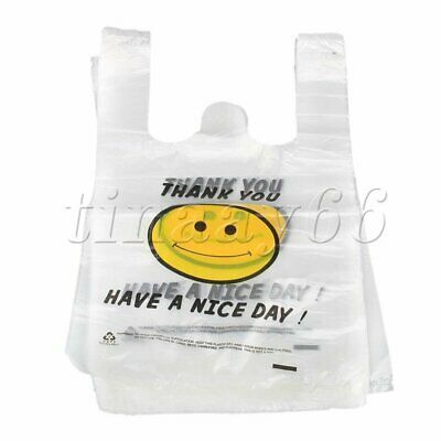 100PCS Small Plastic Singlet Grocery Shopping Bag Checkout Carrying Bags 20x30cm