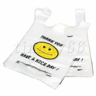 100P Middle Plastic Singlet Grocery Shopping Bag Checkout Carrying Bags 20x40cm
