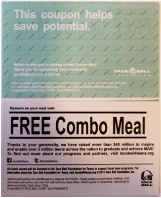 (100) Taco Bell Meal Passes - FREE COMBO MEAL - Lightening Fast Shipping!