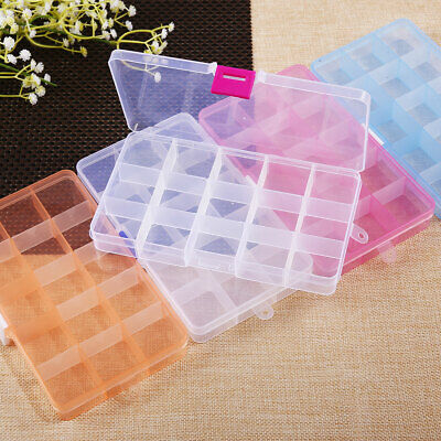 5 Pack Plastic Storage Container Beads Craft Small Parts Box 15 Grids Organizer