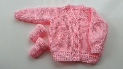 Baby Hand Knitted Cardigan, + Mittens, Pale Pink, 0-3 Months, Long Sleeve, New