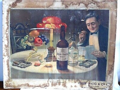Antique John Haig Scotch Whiskey Whisky Advertising Poster - Contentment