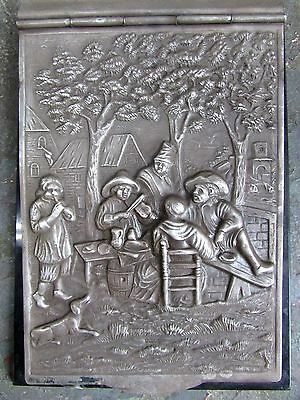 Antique Dutch Embossed Silver Notepad Book Holder Musicians Hooijkaas Stamped