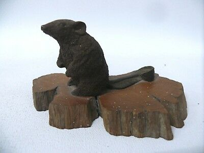 Old  Australian Timber Carved Leadbeater Possum Marsupial Mouse Wooden Statue