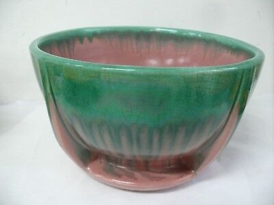 Melrose Australian Pottery Art Deco Drip Glaze Ceramic Fruit Bowl Studio Ceramic