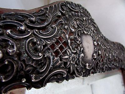 Antique Sterling Silver Filigree Framed Mirror Embossed Victorian Thos Webb