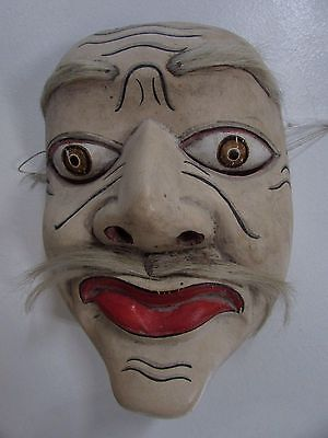 Antique Japanese Wooden Carved Kabuki Theatre Mask Early Traditional #4