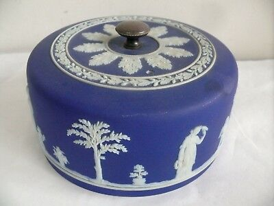 Antique Wedgwood Classical Roman Cobalt Blue Jasper Cheese Dome Lid Victorian