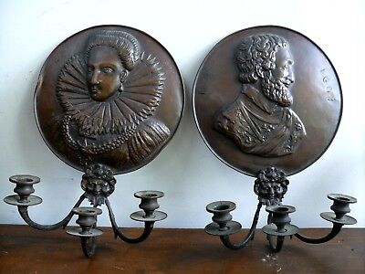 Antique Copper Candle Sconce Queen Elizabeth 1St, Henry Iv 4Th