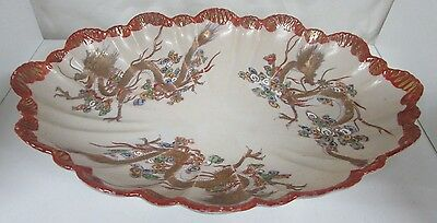 Kutani Scalloped Japanese Porcelain Pottery Antique Bowl Golden Dragon