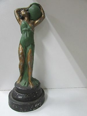 Vintage Art Deco Statue Of Lady Carrying Water Urn Spelter Antique