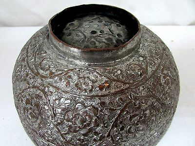 Antique Middle Eastern Hand Beaten Persian Floral Decorated Tinned Bowl Footed