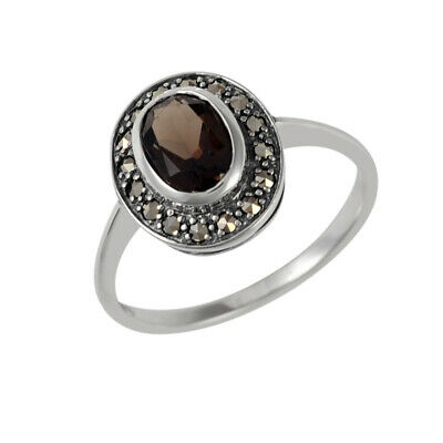 Sterling Silver Oval Smokey Quartz and Marcasite Solitaire Ring - Size K