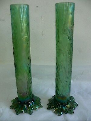 Pair Of Antique Victorian Oil Glass Spill Vases Vaseline Loetz Style