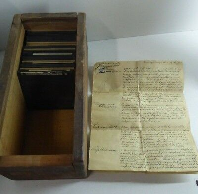 Queens Doll House Antique Glass Photo Slides Set Wooden Box Hand Written Booklet