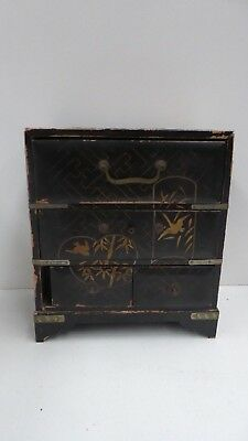 Early Antique Japanese Lacquer Miniature Chest Jewellery Chest