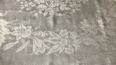 Very Large Damask Tablecloth White Vintage Linen.