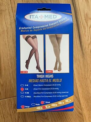 2 X ITA MED Graduated Compression Support Hosiery Thigh Sheer Beige Black Size M