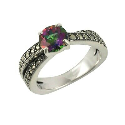 Sterling Silver Mystic Green Topaz & Marcasite Wrap Over Solitaire Ring - Size O