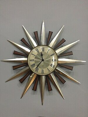 Vintage Metamec Original Quartz Gold Star Sun Burst Wall Clock 1970's