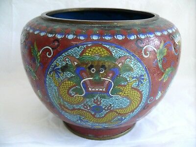 Antique Cloisonne Enamel Chinese Dragon Bowl