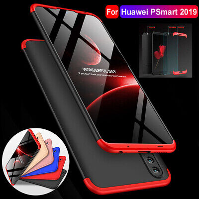 For Huawei P Smart 2019 Case Hybrid 360° Protective Armor Cover+Tempered Glass