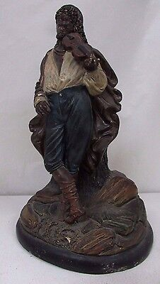 Old Austrian Cold Painted Terracotta Statue Antique Gypsy Figurine Violin Player