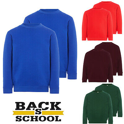 Boys Girls Unisex Jumpers Sweatshirt School Uniform Crew Round Neck Long Sleeve