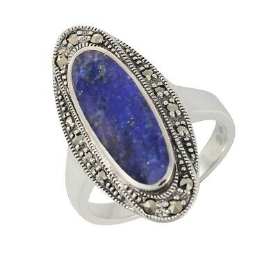 Esse Marcasite Sterling Silver Art Deco Lapis and Marcasite Dress Ring Size - P