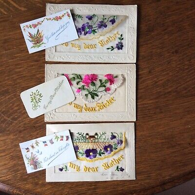 WW1 Postcards x 3  With Small Token Card In Each