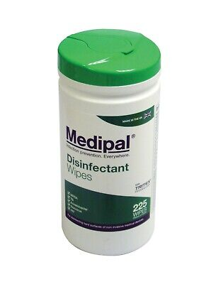 Medipal Alcohol Free Healthcare Disinfectant Wet Wipes Tub 200 Wipes green lid