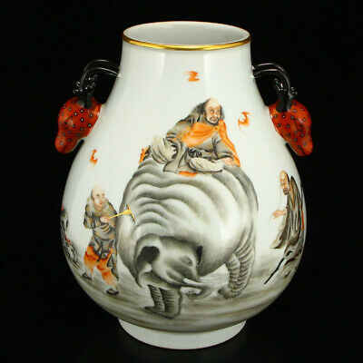"10"" China old Porcelain double ear deer painting Buddhism luohan arhat vase pot"
